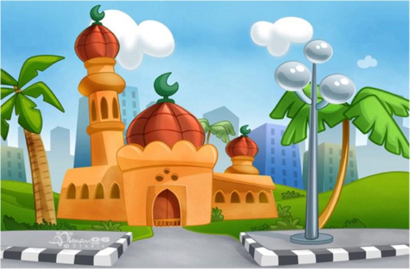 Gambar Masjid Kartun Berwarna Gambar Islami